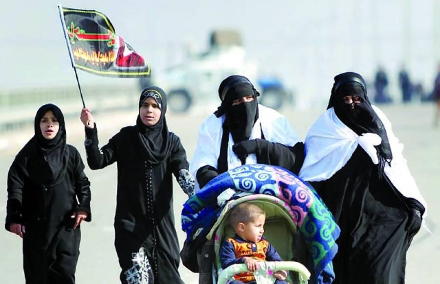 بغداد: شیعہ مسلم خواتین چہلم حسینؓ کے موقع پر اربائین مذہبی تہوار کے دوران بغداد کربلا روڈ پر مارچ کر رہی ہیں