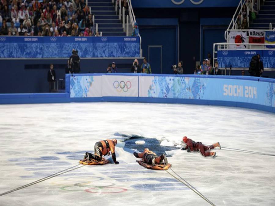 سوچی اولمپکس ناقص انتظامات،سکیٹر برفانی پانی میں گرگئی