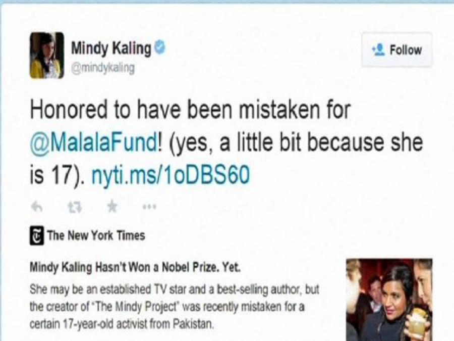 امریکی ٹی وی اداکارہ منڈی کالنگ کو ملالہ یوسفزئی سمجھ لیاگیا