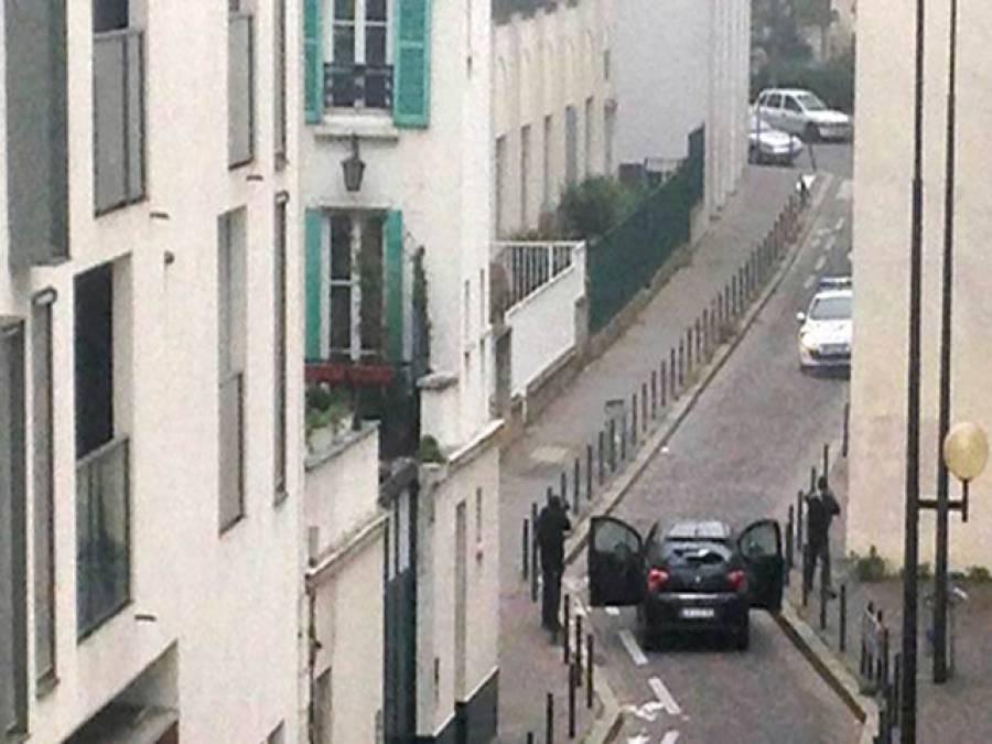 فرانسیسی جریدے پر حملہ ، مشتبہ ملزمان کی گاڑی کاپیچھاجاری ،پولیس پر فائرنگ ، دوافراد ہلاک