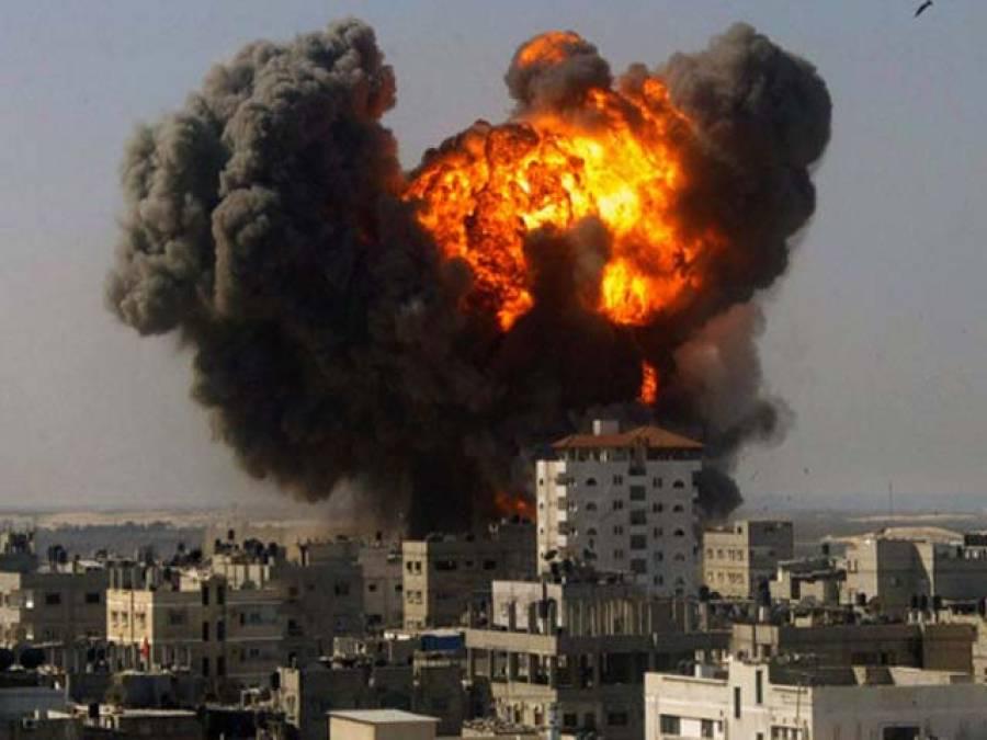 اسرائیل کی ایک مرتبہ پھر عیدالفطر سے قبل غزہ پربمباری ،عمارت ملبے کا ڈھیربن گئی، جانی نقصان نہیں ہوا