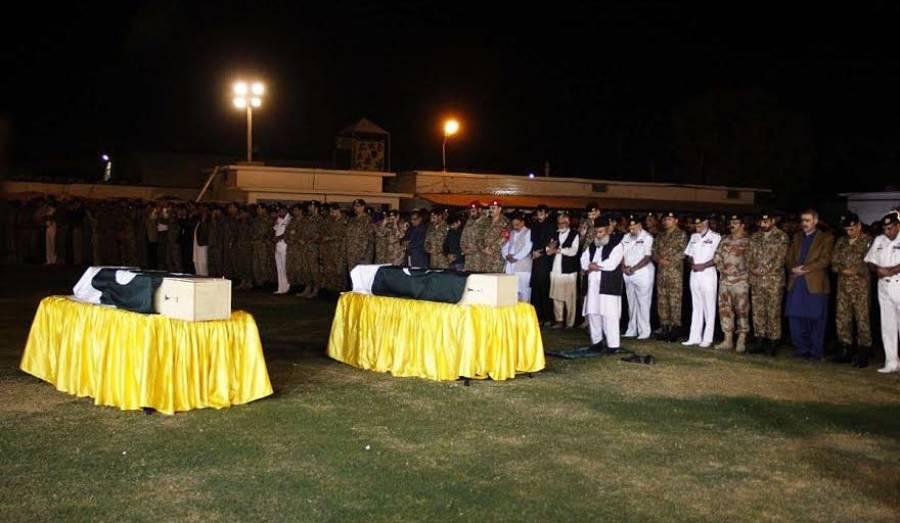 ملٹری پولیس کے شہید اہلکاروں کا نماز جنازہ پی این ایس شفا میں ادا