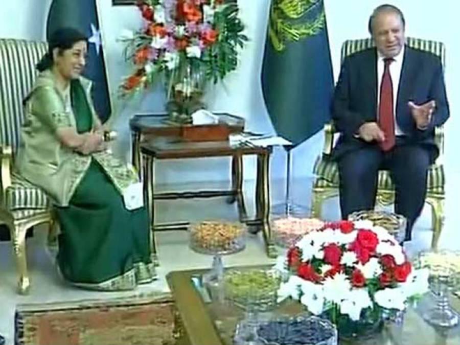 وزیر اعظم نواز شریف کے ساتھ سشما سوراج کی ملاقات ختم، تمام مسائل مذاکرات سے حل کرنے پر اتفاق،بھارتی وزیر خارجہ نے مودی کا اہم پیغام پہنچایا