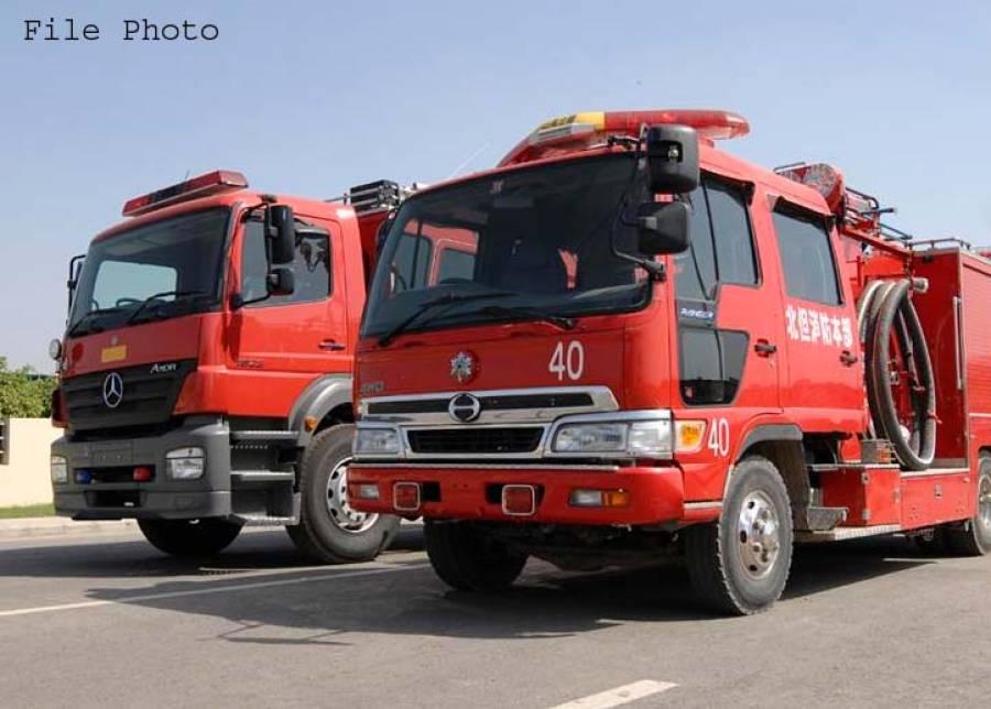 لاہور ریلوے سٹیشن کے قریب ایک نجی بینک کی عمارت میں آگ لگ گئی،فائر بریگیڈ کی گاڑیاں روانہ