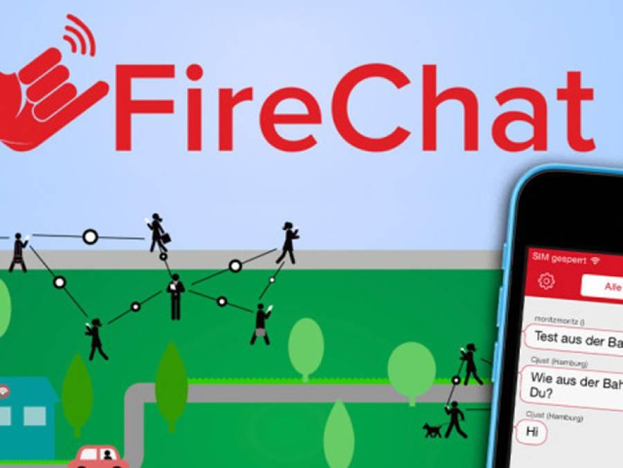 فائر چیٹ،وائی فائی اور ڈیٹا کنکشن کے بغیر مسیج بھیجنے والی ایپ