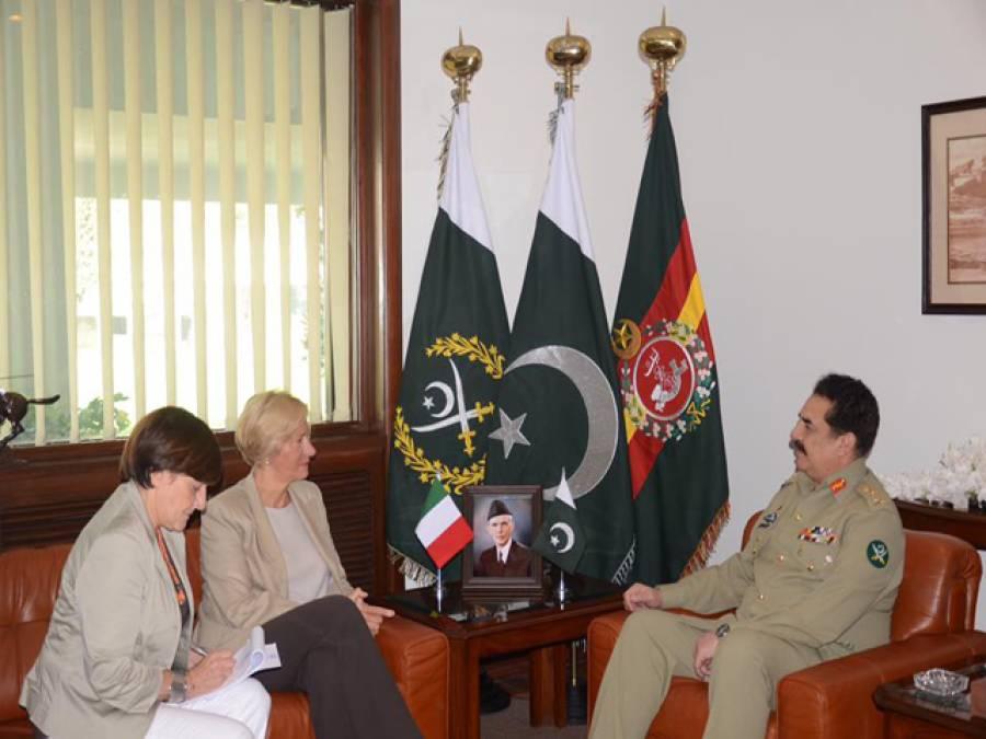 جنر ل راحیل شریف سے اٹلی کی وزیر دفاع کی ملاقات ،دفاعی شعبے میں تعاون بڑھانے پر بات چیت
