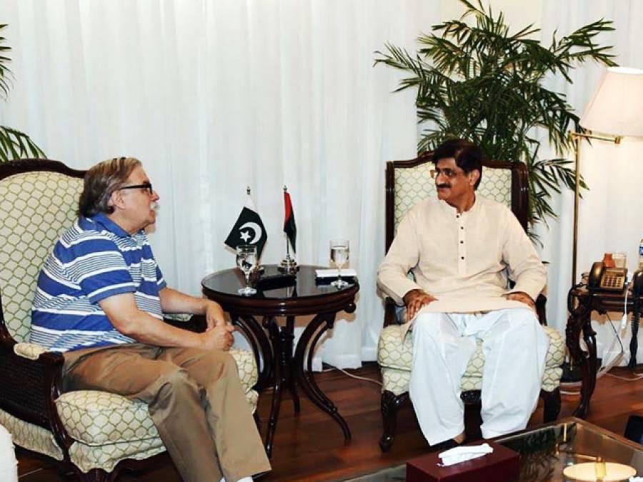ورلڈ بینک کے سابق نائب صدر جیمز ایڈمز کی وزیراعلیٰ سندھ سید مراد علی شاہ سے ملاقات