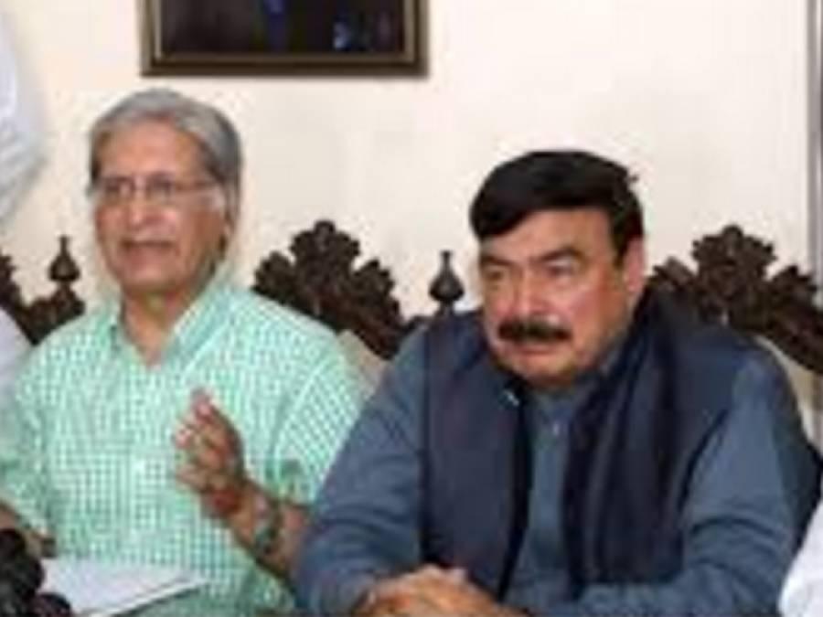 شیخ رشید کی اعتزا ز احسن سے ملاقات ، پی ٹی آئی دھرنے میں شمولیت کی درخواست