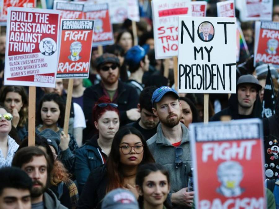 ٹرمپ کے خلا ف امریکا کے بیشتر شہروں میں احتجاجی مظاہرے جاری ، ہائی وے بلا ک ، 60سے زائدشہری گرفتار
