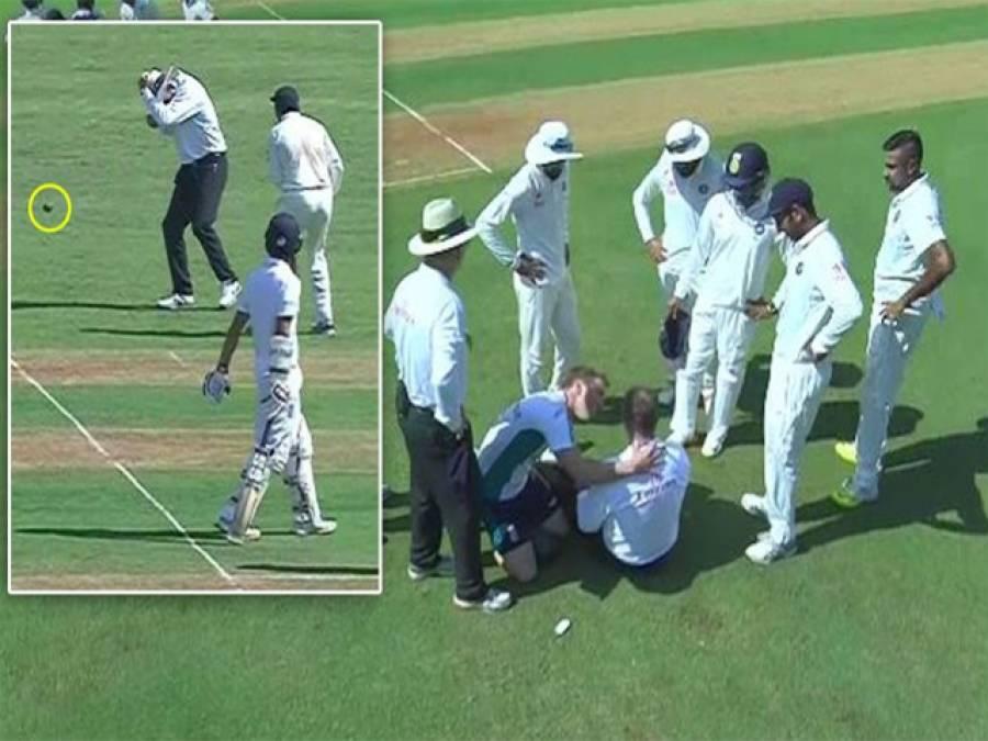 بھارت اور انگلینڈ کے میچ کے دوران بھوشنور کمار نے گیند مار کر ایمپائر کو زخمی کردیا