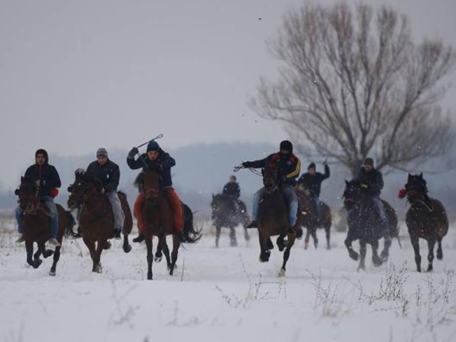 رومانیہ میں بر فیلے راستوں پر گھڑریس کا منفرد مقابلہ شروع