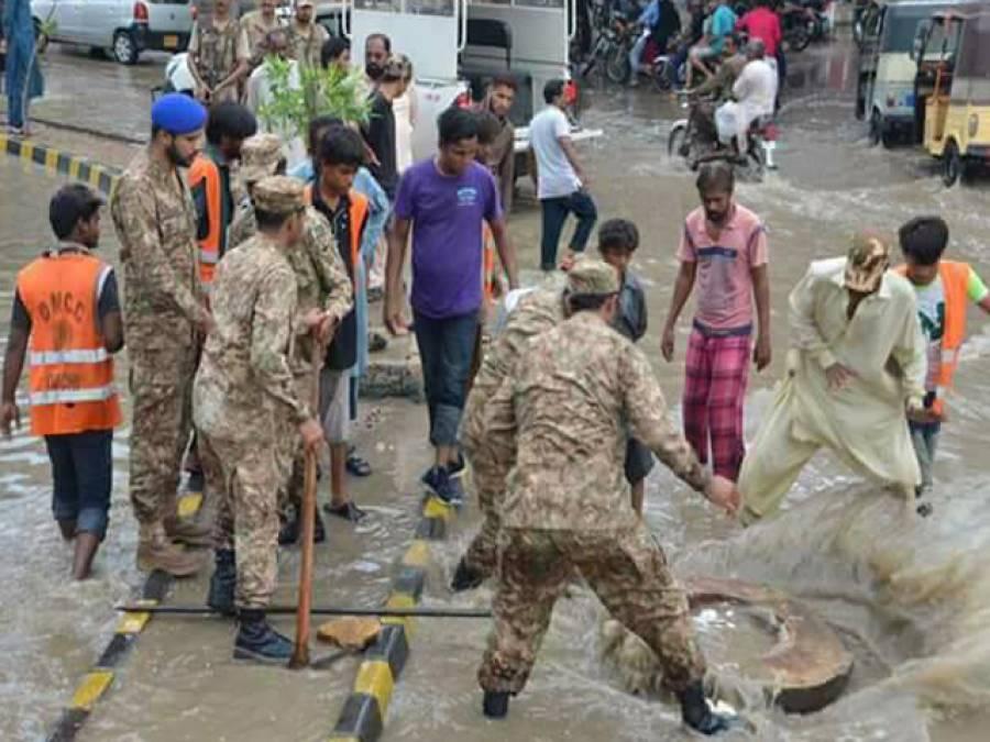 پاک فوج،سندھ رینجرز نے کراچی کے18 علاقوں سے سیلابی پانی کی نکاسی کا کام مکمل کرلیا ہے: آئی ایس پی آر