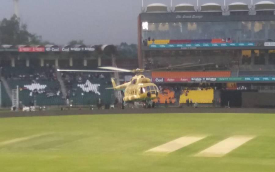 دوسرے پلے آف کے لئے بارش سے متاثرہ میدان کو آرمی کے ہیلی کاپٹر سے خشک کرنے کا عمل جاری