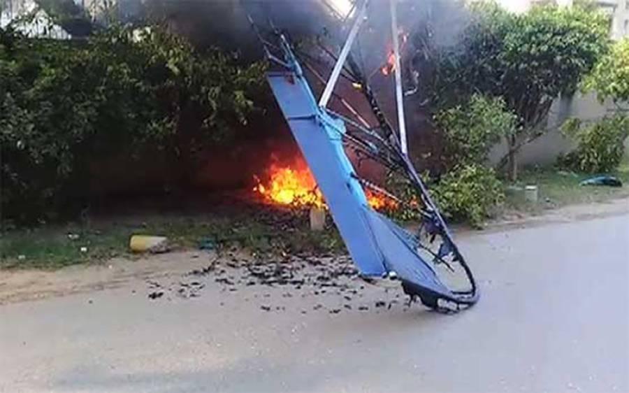 لاہور: گارڈن ٹاﺅن میں کلمہ چوک کے قریب تربیتی طیارہ گر کر تباہ