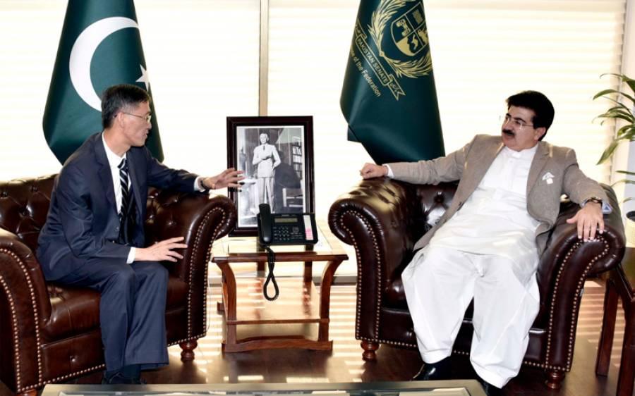 چین پاکستان خطے کی ترقی اور خوشحالی کے لیے کوشاں ہیں،چیئرمین سینیٹ کی چینی سفیر سے گفتگو