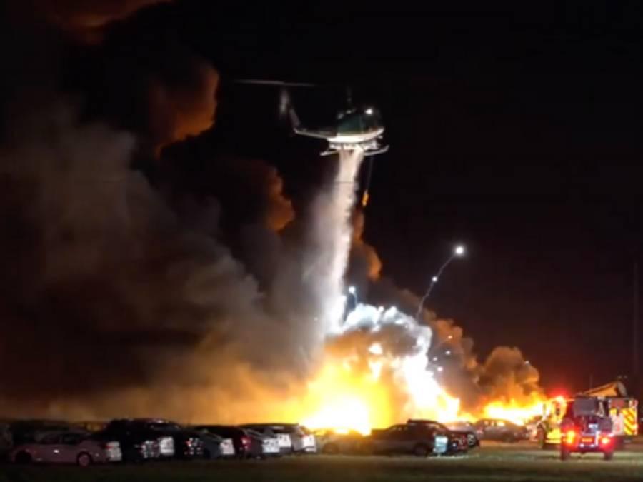 امریکی ریاست فلوریڈا میں ائیرپورٹ کے قریب خوفناک آتشزدگی،3500 گاڑیاں جل کر تباہ ہو گئیں