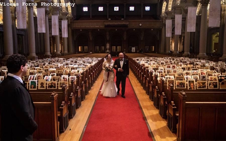کورونا وائرس لاک ڈاﺅن کے دوران ہوئی سب سے الگ شادی، دلہن نے تمام مہمانوں کی تصاویر لگادیں