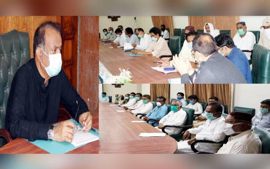 مون سون کی امکانی بارشوں اور سیلاب کے سلسلے میں ڈپٹی کمشنر عمر کوٹ ندیم الرحمن میمن کا آفس کے دردبار ہال میں اجلاس کی صدارت
