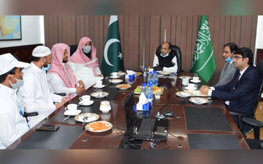 پاکستان قونصل جنرل خالد مجید کی سعودی اوقاف کمیٹی جامعہ الخیریہ کے وفد سے ملاقات