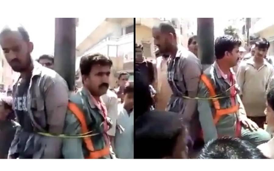 کراچی والوں نے لوڈ شیڈنگ سے تنگ آکر کراچی الیکٹرک کے ملازمین کو باندھ کر تشدد کا نشانہ بنا ڈالا