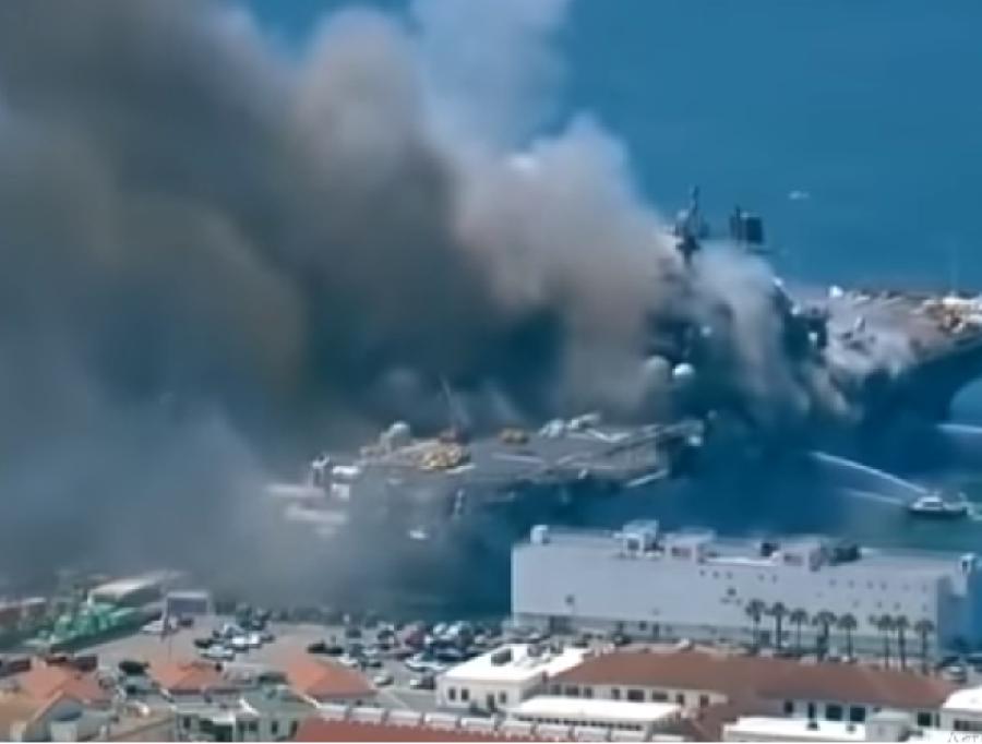 آتشزدگی کا شکار امریکی بحری جہاز پر ایسی چیز موجود ہے جو بڑے پیمانے پر تباہی کا باعث بن سکتی ہے، رونگٹے کھڑے کردینے والا انکشاف