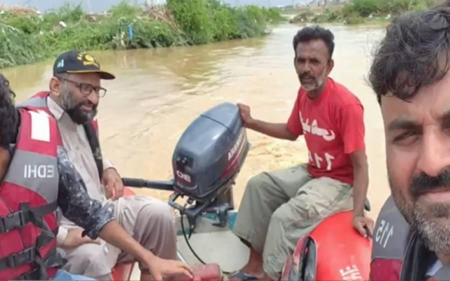 کراچی :سمندر میں ڈوبنے والے شہری کی تلاش کے دوران فیصل ایدھی کی کشتی الٹ گئی