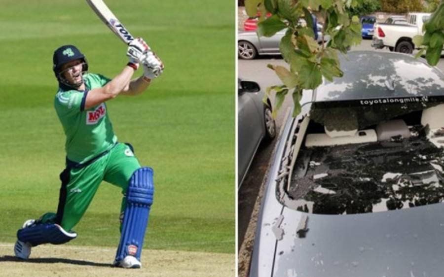 آئرلینڈ کے کھلاڑی نے چھکا مار کر اپنی ہی گاڑی کا شیشہ توڑ ڈالا