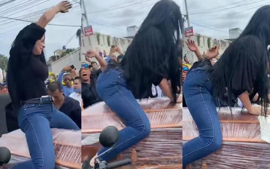 جنازے میں خاتون کا تابوت پر فحش رقص، ویڈیو انٹرنیٹ پر وائرل، پوری دنیا حیران پریشان