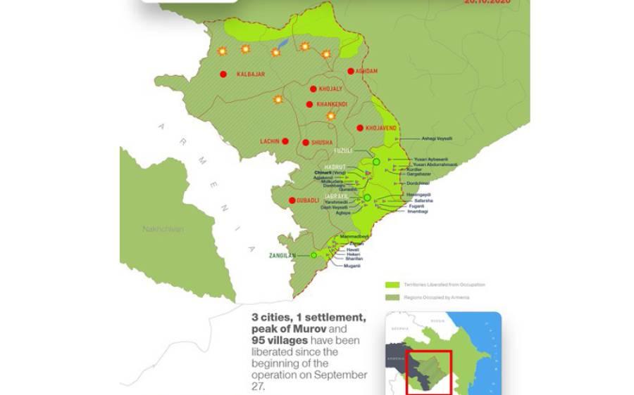 آذربائیجان کی بڑی کامیابیاں ، 95 گاؤں، 1 قصبہ اور 3 شہر آرمینیا کے قبضے سے آزاد