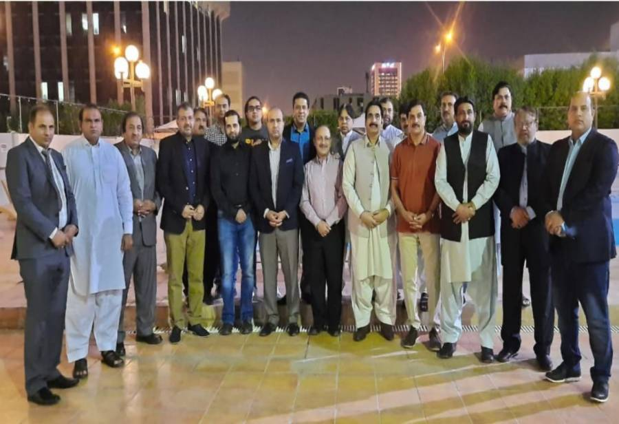 شیخ سعید کی جانب سے ویلفئیر اتاشی محمود لطیف اور ہیڈ آف چانسری منظور ملک کے اعزاز میں الوداعی عشائیہ