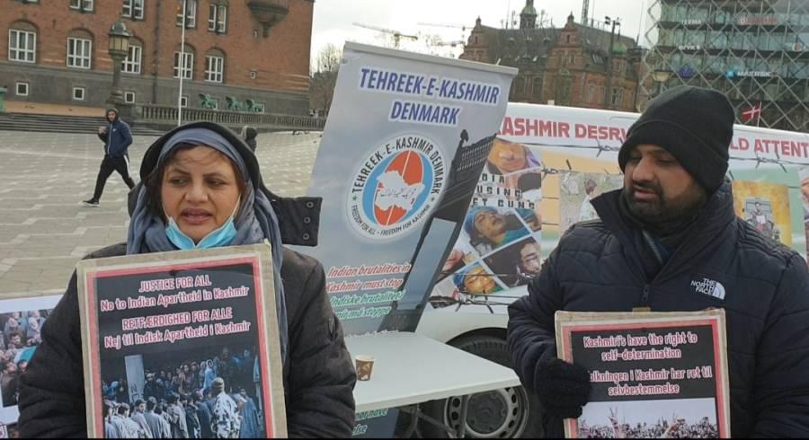 کشمیریوں پر بھارتی مظالم کو بے نقاب کرنے کے لیے کوپن ہیگن ٹاؤن ہال کے باہر تصویری نمائش کا اہتمام