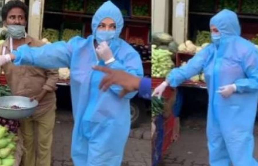 بھارتی اداکارہ کورونا سے بچاؤ کا حفاظتی لباس پہنے سبزی خریدنے پہنچ گئیں، ویڈیو وائرل