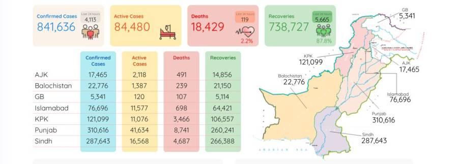 کورونا وائرس سے مزید 119پاکستانی جاں بحق ، تعداد 18ہزار429ہو گئی