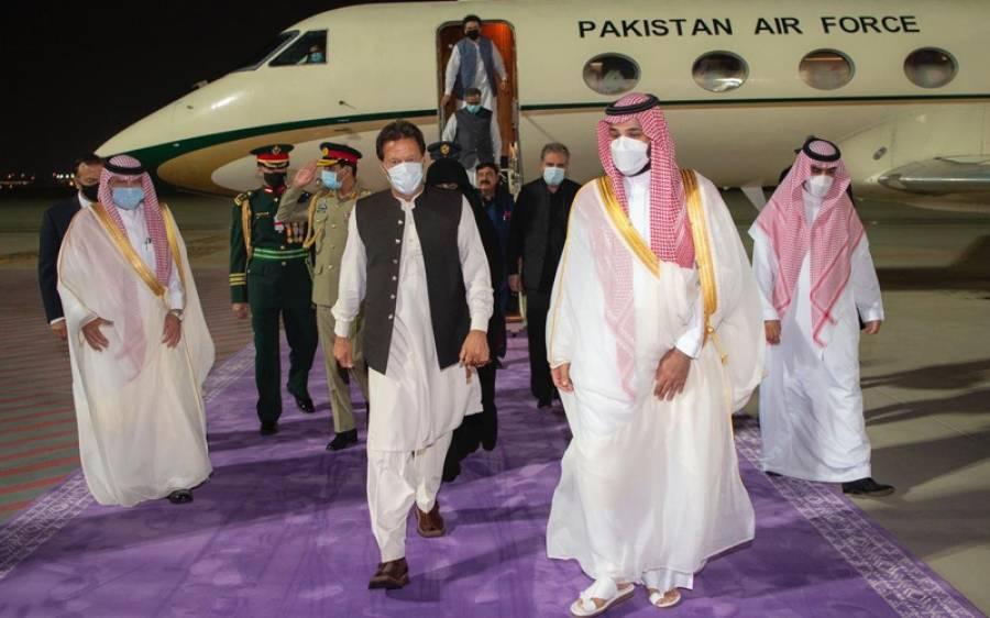 وزیراعظم عمران خان سعودی عرب پہنچ گئے ،شہزادہ محمد بن سلیمان کا جدہ ائیرپورٹ پر شاندار استقبال