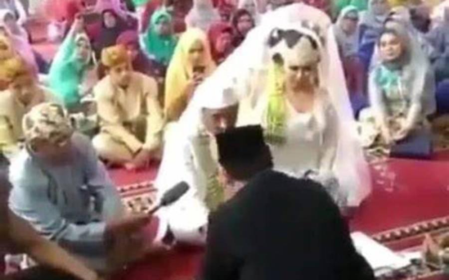 انڈونیشیاءمیں شادی ، دولہا کے 'ہاں' کہتے ہی دلہن نے ایسا کام کردیا کہ انٹرنیٹ پر تہلکہ مچ گیا، ویڈیو وائرل