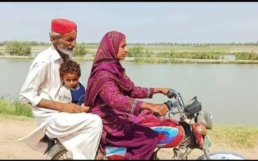 اپنے باپ کو موٹرسائیکل پر بٹھا کر لے جانے والی یہ باہمت لڑکی کون ہے؟