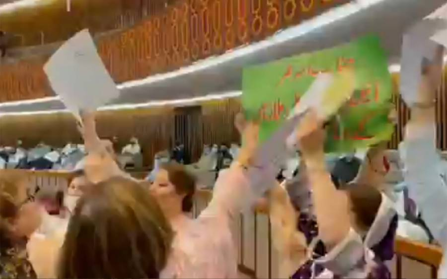ہنگامہ خیز بجٹ سیشن جاری ، حکومتی خواتین اراکین کا اپوزیشن نشستوں پر دھاوا ، ہاتھوں میں اٹھائے کتبے چھین کر پھاڑ دیئے