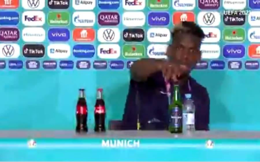 مسلمان فٹبالر نے پریس کانفرنس کے دوران سامنے رکھی سپانسرڈ شراب کی بوتل کو ہٹا دیا