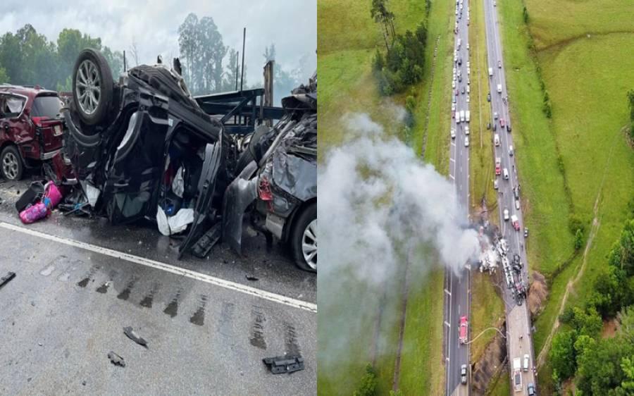 امریکہ میں متعدد گاڑیاں آپس میں ٹکرا گئیں، کئی ہلاکتیں، دل دہلا دینے والے مناظر