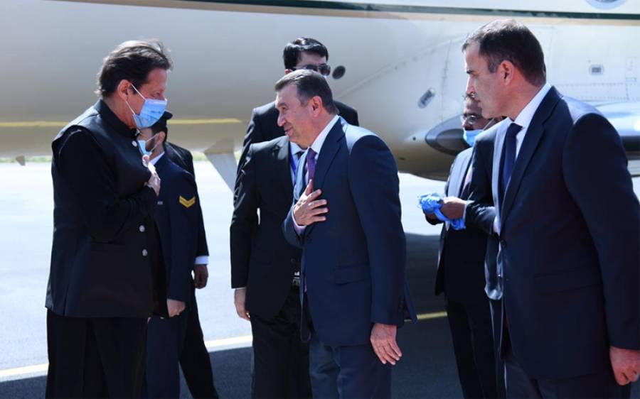 وزیر اعظم عمران خان دو روزہ دورے پر تاجکستان پہنچ گئے ، تاجک وزیر اعظم نے ائیرپورٹ پر استقبال کیا