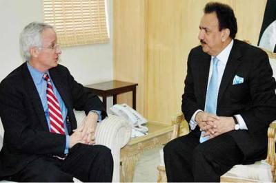 مشیر داخلہ رحمان ملک سے امریکی سفیر کی ملاقات