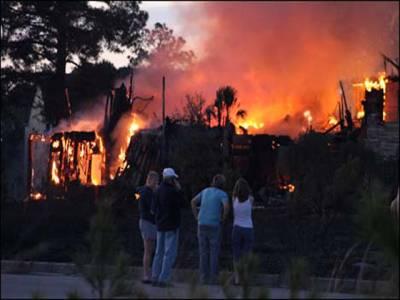 امریکہ کی ریاست جنوبی کیرولینا میں جھاڑیوں کوآگ لگ گئی،26عمارتیں جل کر تباہ