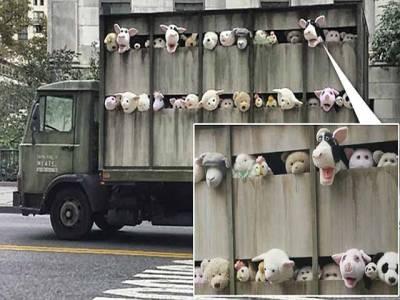 امریکی سلاٹرہاﺅس کے ٹرک میں جانورنماکھلونوں کی نمائش