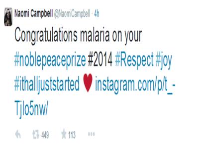 """انگلش سپر ماڈل ملالہ یوسفزئی کو """"ملیریا"""" لکھ بیٹھیں"""