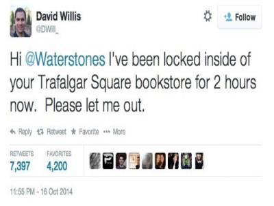 بک شاپ میں پھنس جانےوالے شخص کو ٹویٹر نے آزادی دلوائی