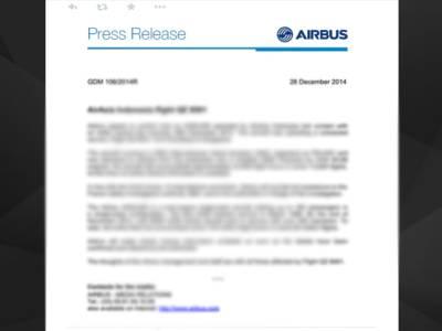 ایئرایشیاءطیارہ لاپتہ ، جہاز بنانیوالی کمپنی 'ایئربس'نے تعاون کی یقین دہانی کرادی