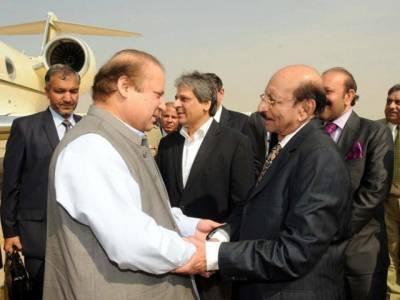 وزیراعظم نوازشریف اپنے وفد کے ہمراہ ایک روزہ مختصر دورے پر کراچی پہنچ گئے