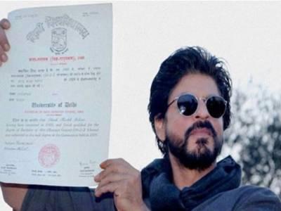 شاہ رخ خان کو 28 برس بعد ہنس راج کالج سے بی اے پاس کی ڈگری مل گئی