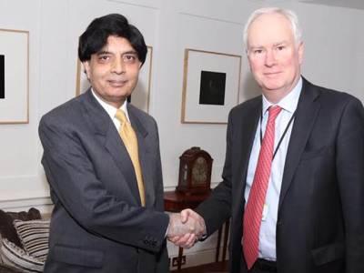 چوہدری نثارکی مارک لائل گرانٹ سے ملاقات ، مشترکہ مفادات کے حصول ،دو طرفہ تعاون اور باہمی روابط کو فروغ دینے کا عزم