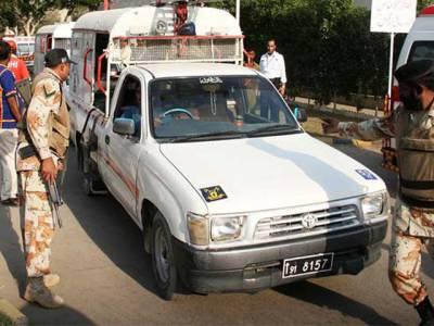 بہادر آباد میں سکیورٹی ادارے کی گاڑی پر فائرنگ ، جوابی فائرنگ سے حملہ آور زخمی